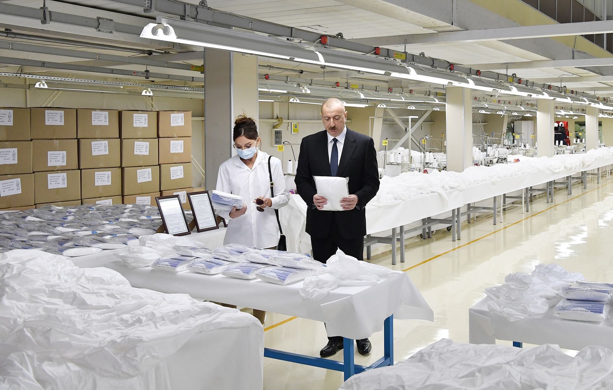 Ilham Aliyev attended the opening of «Gilan Textile Park» LLC's medical mask factory and production of protective overalls